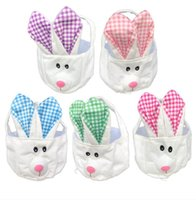 Pascua suave Pascua Orejas Largas Conejito Canasta Historieta Pascua Huevos Cestas Mano Llevar Conejo Ear Bolsa Niños Candy Candy Bolsas de almacenamiento