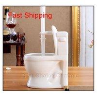 السيراميك 2 أجزاء المرحاض فرشاة حامل مجموعة 3 ألوان السيراميك مصغرة فرشاة المرحاض فرشاة + فرشاة المرحاض البلاستيكية BA Qylkho Homes2011