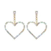 밝은 심장 모양의 다채로운 펜 던 트 귀걸이 유럽과 미국 성격 크리 에이 티브 네트워크 다이아몬드 귀걸이 크로스 테두리 Su