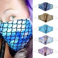 Fashion Color Mermaid Mask Fashion Sequin Rainbow Dust Masks...