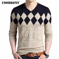 Coodrony Cashmere шерсть свитер мужчин 2020 осень зима тонкий подходящий пуловеры мужчины Argyle Pattern V-образным вырезом потягивает хому
