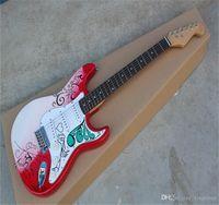 Ücretsiz Kargo 2021 Yeni Toptan Stratocaster Elektro Gitar Çıkartmaları Yeni Hatıra Modelleri Kırmızı Desen Gitar
