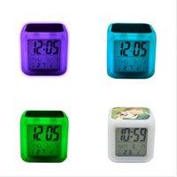 DIY 열 전송 사각형 LED 터치 스크린 알람 시계 다채로운 빛나는 전자 색상 변경 번호 프롬프트 시계 밤 빛 H12506
