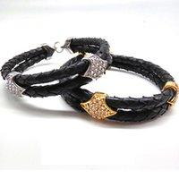 (10 stücke) Beiichong Herren Blau 5mm Python Leder Armbänder Armreif Mit Gold Edelstahl Verschluss LeatherEwelry Für Geschenk1