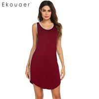 Ekouaer Womens Sleepwear Nachthemd Weiche Chemise Sleepshirts Sleeveless Oansatz Freizeitbehälter über Knie Lose Nachthemd