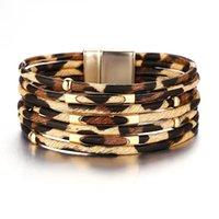 2021 Creatieve Retro Herfst Winter Luipaard Armband Hoge Kwaliteit Metalen Magnetische Gesp Lederen Armband Multi Layer Armband