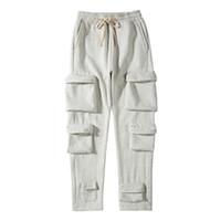 Çok Cep Joggers Polar Sweatpants Erkek Katı Streetwear İpli Rahat Harem Pantolon Siyah Beyaz Gevşek Pantolon