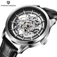 NUEVO RELOGIO MASCULINO PAGANI DISEÑO MARCA VENTA CALIENTE 2019 Esqueleto Relojes de pulsera de cuero huecos de lujo Reloj masculino mecánico LJ201125