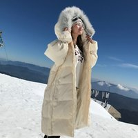 Fitaylor New Women Sweet Bandage Sleeve Down Long Coat Winter Real Natural Fur Hooded Loose Jacket Thick Warm Snow Outwear Z1202