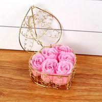 Creative Saint Valentin Jour Rose Iron Box emballé à la main Savon de rose Fleur Simulation Flower Fleur Anniversaire Fête Cadeaux EEE3374