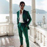 Green Mens Coat Suits Custom Made Plus Size Business Best Man Jacket Blazer 2 Pieces ( Jacket+ Pants)
