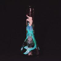"12,5 ""Meerjungfrau Glas Wasserleitung Handgemalte Glas Bong 7mm Becherbierbongs Eisfängerschüssel Öl DAB Rigs Raucherrohre"