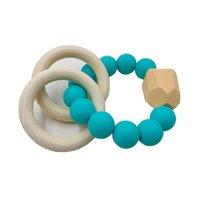 HJOT Natural Wooden Ring Teethers per Baby Assistenza sanitaria Accessori per dita infantili Aspetto Giocattoli colorati Silicio in rilievo Soother 905 V2