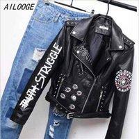 Ailooge Baskılı Mektuplar Perçin Deri Ceket Kadın Punk Moto Ceket Siyah Faux Ceket Jaquetas Couro Casaco Chaquetas Belt1