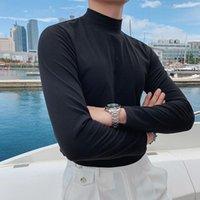 2021 가을 낮은 칼라 캐주얼 솔리드 컬러 긴 소매 티셔츠베이스 셔츠 남성 블랙 로얄 티셔츠 남자 슬림 피트 티 티크 티크 그레이