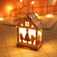 Украшение мэзон светодиодный свет деревянные куклы дома вилла рождественские украшения рождественские дерево висит декор по случаю дня рождения украшения детский