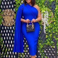한 어깨 섹시한 파티 드레스 여성 망토 슬리브 디자이너 Bodycon 저녁 우아한 드레스 솔리드 블랙 블루 붉은 아프리카 가운