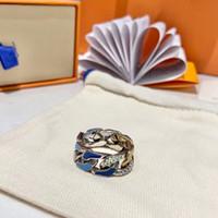 2021 디자이너 링 스테인레스 스틸 로즈 골드 커플 반지 여성용 남성 보석을위한 다채로운 18K 골드 반지