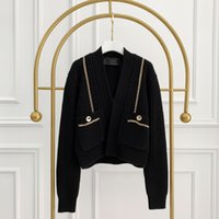 Maglione della pista di Milano 2021 manica lunga con scollo a V maglioni da donna di fascia alta stampa animale jacquard cardigan donne designer maglione 1227-26