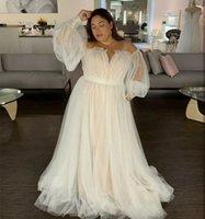 2021 زائد حجم فساتين الزفاف الأكمام طويلة الأكمام نفخة ضوء الشمبانيا الطابق طول قطار المحكمة أثواب الزفاف حجم كبير بوست الرقبة النساء العرائس