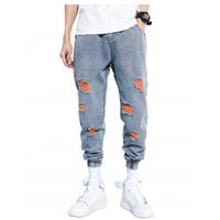 2021 Новые Мужчины Разорванные Джинги Джинсовые брюки Симпатированные Джинсовые Штаны Стройне Гармем Джинсы Джинсы Хип-Хоп