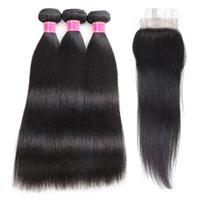 Wholesale良い9aミンクブラジルペルーのマレーシアのバージンストレートヘア3束と4 * 4レースの閉鎖の人間の髪の毛の束が付いている