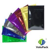 6x9CM (2.25x3.5in) 7 Цветов Глянцевое тепловое уплотнение Алюминиевая фольга Mylar Mini Ziplock Сумки Плоский Маленький Сумка Защита Zip Для Упаковки Grual Package 201021