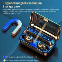 F9-10 TWS 이어폰 무선 블루투스 5.0 보이지 않는 이어 버드 스테레오 시계 LED 소음 취소 게임 헤드셋