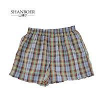 Shanboer 4 pçs / lote Mens Underwear Boxers Solto Shorts Calcinhas Masculinas Algodão Masculino Grande Calças de Seta Plaid Clássica Plus Tamanho 4xl Y200415