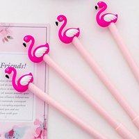 3 pièces / sac 0,38 mm Tube d'aiguille noire créative Exquisite Flamingo Flamingo Swan Gel Gel Gel Stylo School Fournitures de bureau Cadeaux1