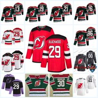29 Mackenzie Blackwood New Jersey Devils 2021 عكس الرجعية جيرسي جاك هيوز P.K. Subban Corey Crawford Nikita Gusev Nico Hischier