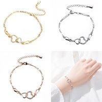 Herzförmige Armband Microinlay aushöhlen Zirkon Glänzende edle Charm Armbänder Schmuck Frauen Geschenke Elegant Exquisite Ornament 5ms m2