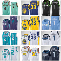 2021 Draft Pick 33 James Wiseman Jersey 1 Anthony Edwards 2 Lamelo Bola Azul Branco Negro New City Basketball Edition Homem Kids Women
