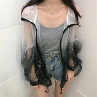Fireart Transparente Séquin Summer Cardigan Blouse Jacket Femmes Gradient Star Imprimer Voir à travers Blouse coréen en vrac 201202