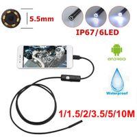 5.5mm Endoskop USB Mini-Kamera flexibel IP67 wasserdichte Micro-USB-Inspektion Boreskop-Kamera für Android 6 LED einstellbar