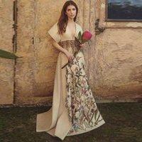 분열 V와 섹시한 꽃을 인쇄 v 벨트 파티 얇은 중간 기질 드레스 길이 트랙 여성 의류 고품질 K4VO