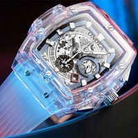 Мода внешняя торговля Новый прозрачный чехол Многофункциональные светящиеся мужские часы Womens Популярные чистые красные часы Мужские наручные часы