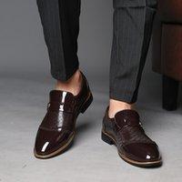 Sıcak Satış erkek Patent Deri Elbise Ayakkabı Timsah Kabartmalı PU Deri Moda Erkek Ayakkabı Erkek Iş Düğün Brogue Ayakkabı Boyutu 38-48