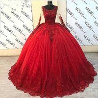 Пухлое бальное платье Quinceanera платья с длинным рукавом красный тюль из бисера кружева сладкое 16 мексиканское платье для вечеринки Золушка шарин