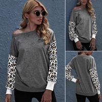 Damen Pullover Hoodies Lässige Modeart Lose Temperament Pendler Rundhalsausschnitt Ziehen Sie den Leoparden-Druck Langarm-Pullover Grau