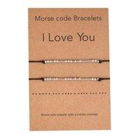2 pcs Eu te amo amizade Morse Code Bracelete frisado delicado com mensagem secreta para mulheres homens amante jóias presentes