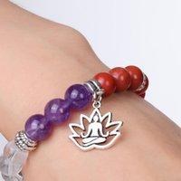 7 LIFE Colorido Yoga Árbol Chakra de Power Stone Beads Pulseras Curación Reiki Pulsera de equilibrio de oración para mujeres Drop shi