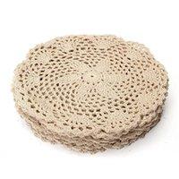 12pcs vintage tappetino in cotone rotondo mano mano lavoratori di pizzo crochettati flower coastaters lotto tavolo domestico decorativo artigianato accessori T200524