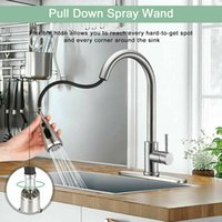 304 Edelstahl gebürstete Nickel-Küchen-Ziehen Sie den Wasserhahn mit 3-Loch-Abdeckplatte und ziehen Sie den Bryer heraus