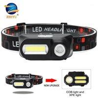 LED-Scheinwerfer-Arbeitslicht-Scheinwerfer tragbarer Arbeitsscheinwerfer XPE + 2 * COB-Kopf-Licht USB-Wiederaufladbare Kopflaterne am besten für Camping1