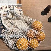 تسوق بقالة حقيبة قابلة لإعادة الاستخدام المتسوق حمل الصيد صافي حجم كبير شبكة صافي المنسوجة أكياس القطن المحمولة أكياس التسوق حقيبة تخزين المنزل DHE3723