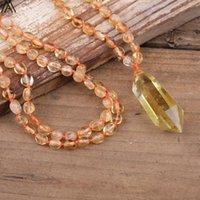 سلاسل السترينات الطبيعية الكوارتز مزدوجة بايد قلادة سموكي رقاقة الخرز معقود اليدوية قلادة أزياء المرأة مجوهرات