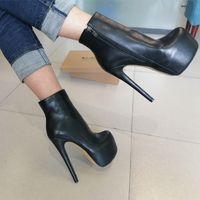 OnlyMaker Women's Runded Toe 16cm High Heel Black Color Side Reißverschluss Slim Mode Matte Knöchelschuhe Plus Größe US5 ~ US15 201128