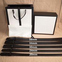 Улица мода пояс мужчина женщина ремни повседневные гладкие пряжки кожаный ремень ширина 20,24,30,34,38 мм с коробкой