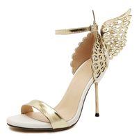 Sondr 2020 Alas de mariposa Sandalias de Peep Toe Sandalias Mujeres Stiletto High Tacones Sólido Color Hebilla Sandalias Sandalias Mujer J1208